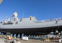 HMAS Arunta returns to the water after significant upgrades at Henderson Dockyard, Western Australia.