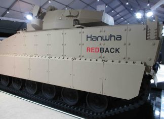 First Redback IFV featuring rubber tracks, an Elbit turret with 30mm ATK cannon and a variety of sensors