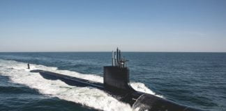 The Virginia-class attack submarine USS Delaware (SSN 791) conducts sea trials.